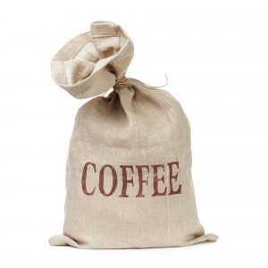tied bag with coffee word digitally written, isolated on white